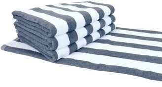 """Arkwright 4 Pack of Pool Beach Towels - Grey Stripes - 30"""" x 60"""" - Ring-Spun 100% Cotton - Wholesale Value Cabana Towels"""