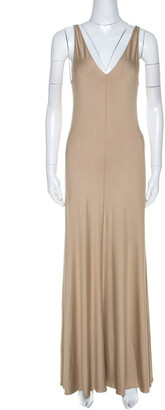 Ralph Lauren Khaki Jersey Sleeveless Jenny Maxi Dress M