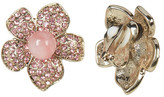 Betsey Johnson Pink Floral Pave Clip-On Earrings