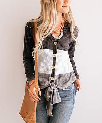 So Perla Women's Tunics Grey - Gray Color Block Waffle-Knit Tie-Front Button-Up Tunic - Women