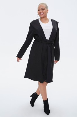 Forever 21 Plus Size Faux Suede Hooded Blazer