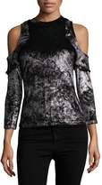 Armani Exchange Women's Cold Shoulder Crushed Velvet Top