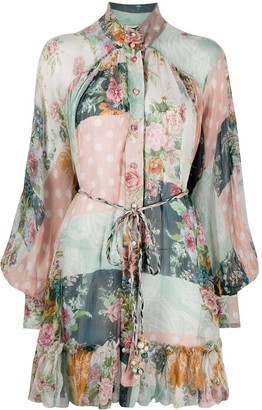 Zimmermann Wavelength smocked shirt dress