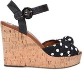Dolce & Gabbana 112mm Keira Cady & Raffia Wedge Sandals
