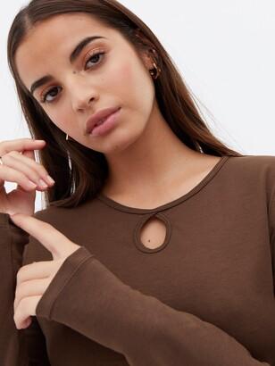 New Look Keyhole Long Sleeve T-Shirt - DarkBrown