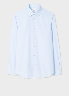 Paul Smith Men's Tailored-Fit Sky Blue Cotton 'Artist Stripe' Cuff Shirt