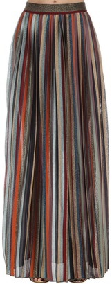 Missoni High Waist Pleated Lame Knit Skirt