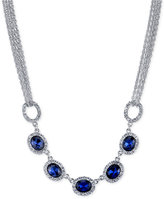 2028 Silver-Tone Blue Crystal Multi-Chain Collar Necklace