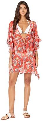 Jessica Simpson Chantilly Lace Frill Side Chiffon Cover-Up (Pepper Multi) Women's Swimwear