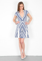 Pencey V Neck Dress in Blue