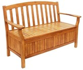 The Well Appointed House Wooden Outdoor Storage Bench in a Natural Oil Finish