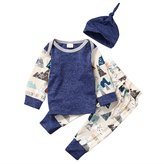 honeys Baby Boy Girl 3pcs Set Mountain Pattern Suit Long Sleeve Top+Pants+Hat (12-18months, )