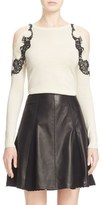 Yigal Azrouel Lace Detail Silk & Cashmere Cold Shoulder Sweater