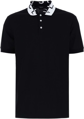 Versace POLO SHIRT WITH LOGO L Black, White Cotton