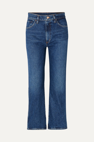 The Cropped A High-rise Straight-leg Jeans - Mid denim