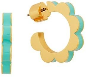 Kate Spade Goldtone Floral Scalloped Huggie Hoop Earrings