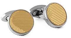 Tateossian Men's Titanium Leather Round Cufflinks