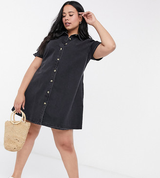 ASOS DESIGN Curve soft denim smock shirt dress in washed black