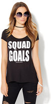 New York & Co. Squad Goals Graphic Logo Tee - Black