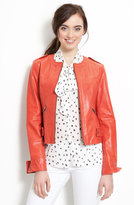 Velvet Heart Collarless Leather Jacket