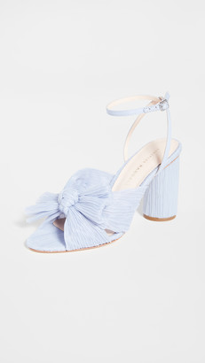 Loeffler Randall Pleated Knot Heeled Sandal with Ankle Strap