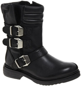 KG Kurt Geiger KG by Kurt Geiger Shout Leather Buckle Motorcycle Boots - Black