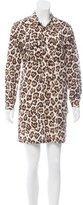 Equipment Lace-Up Leopard Print Dress