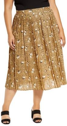 Bobeau Pleat Midi Skirt