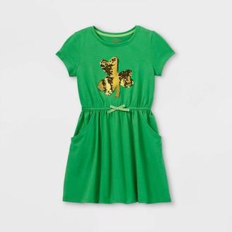 Cat & Jack Girls' Flip Sequin Shamrock Short Sleeve Knit Dress - Cat & JackTM