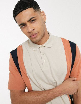 ASOS DESIGN organic relaxed polo shirt with vertical colour block in off-white