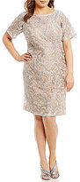 Eliza J Plus Lace Elbow-Sleeve Sheath Dress