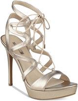 GUESS Women's Aurela Strappy Lace-Up Platform Dress Sandals