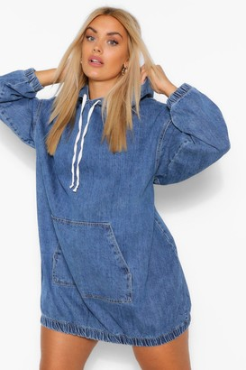 boohoo Plus Hooded Denim Pullover Dress
