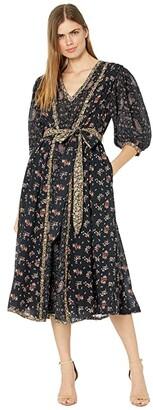 La Vie Rebecca Taylor Short Sleeve Long Dress (Black Combo) Women's Clothing