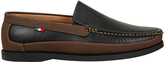 Yours Clothing D555 Black Slip On Shoe With Brown Trim