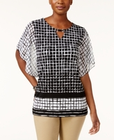 JM Collection Petite Flutter-Sleeve Grid-Print Blouse, Created for Macy's