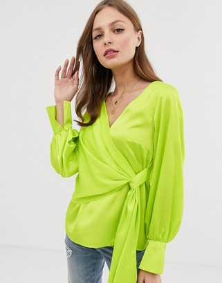 Asos Design DESIGN long sleeve v neck top with drape front and cuffs in neon-White