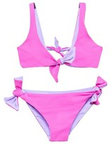 Melissa Odabash Hot Pink and Lavender Knot Reversible Bikini