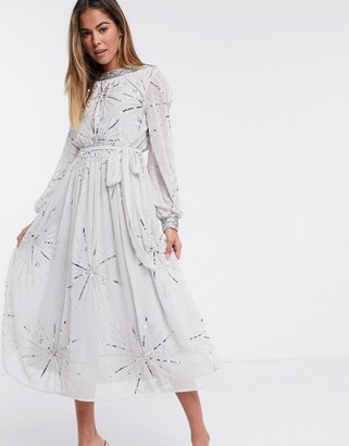 Frock and Frill embellished midi dress in silver grey