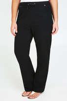 Yours Clothing Black Full Length Cool Cotton Trousers