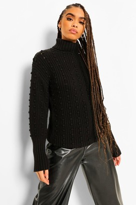boohoo Bubble Detail Roll Neck Jumper