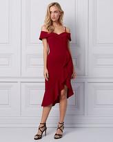 Le Château Knit Crepe Cold Shoulder Ruffle Dress