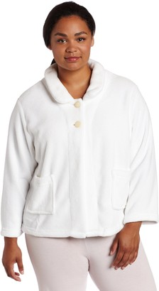 Casual Moments Women's Plus Size Bed Jacket-Peter Pan Collar