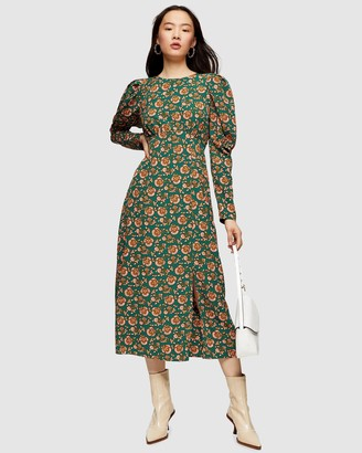 Topshop Paisley Juliet Sleeve Midi Dress