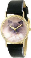 Whimsical Watches Kids' P0120049 Classic Ragdoll Cat Black Leather And Goldtone Photo Watch