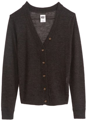 NSF Freddie Shrunken Cardigan Sweater in Crow