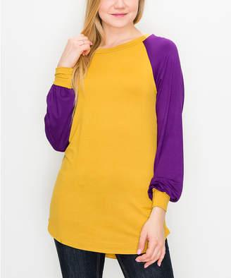 Cool Melon Women's Tee Shirts Mustard - Mustard & Eggplant Color-Block Cuffed Raglan Tee - Women & Plus