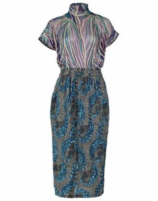 Dries Van Noten Doria Short Sleeve Embroidered Sheer Top Dress
