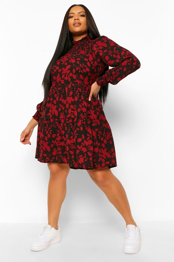 boohoo Plus Floral Shirred High Neck Smock Dress
