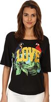 Love Moschino I Love Tropical Birds T-Shirt Women's Short Sleeve Pullover